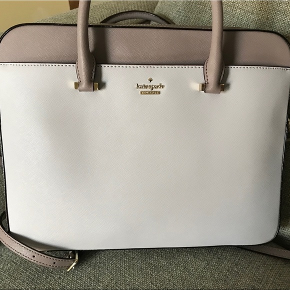 """sneakers latest style wide range Kate Spade Saffiano 13"""" Laptop Bag Neutral Gray"""